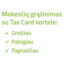 Tax Card kliento kortele