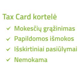 Uzsisakyti Tax Card kortele